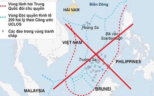 Yêu sách đường lưỡi bò phi lý của Trung Quốc nuốt gần trọn diện tích Biển Đông.