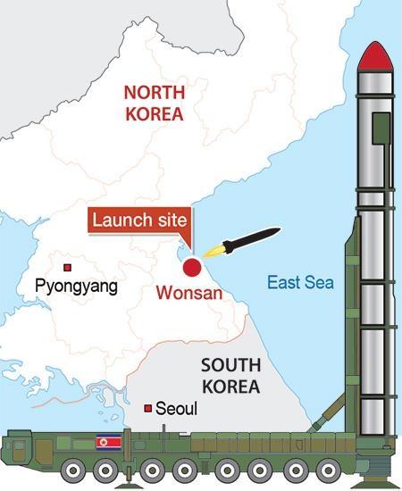 Hai vụ phóng thử tên lửa liên tiếp được Triều Tiên thực hiện trong sáng 22/6