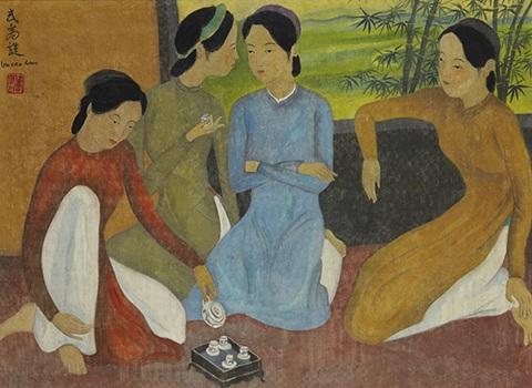 Bức Thiếu nữ uống trà - được nhiều chuyên gia cho rằng tranh giả