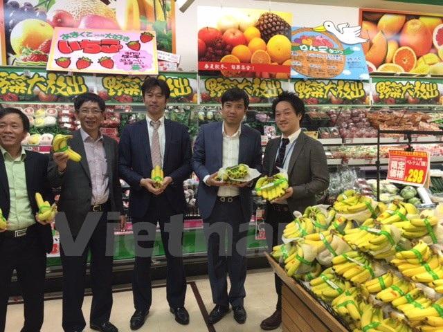 Chuối Việt Nam được bày bán tại siêu thị Don Kihote của Nhật Bản. (Ảnh: Nguyễn Tuyến/Vietnam+)