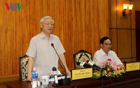 Tổng Bí thư Nguyễn Phú Trọng tại buổi làm việc với lãnh đạo chủ chốt tỉnh Tây Ninh