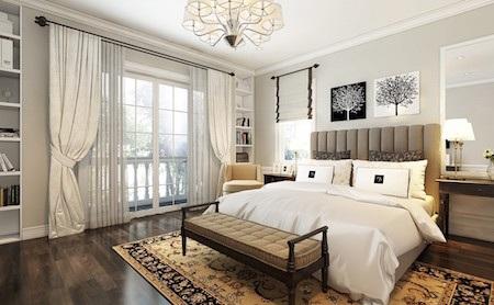 Tầng 2 gồm có 2 phòng ngủ. Trong đó phòng ngủ chính (master) rộng 25m2 dành cho bố mẹ nên có đầy đủ tiện nghi, như sofa chân giường , Ghế bành bên cửa sổ , tivi, kệ trang trí.
