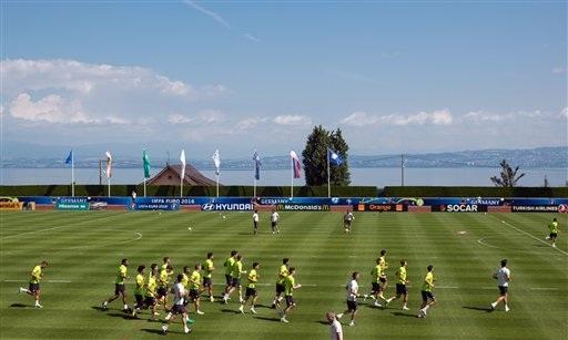 Sân tập của tuyển Đức ở Evian, Pháp. Vào 2h ngày 2/7/2016, Đức sẽ thi đấu với Italia ở trận tứ kết 3 Euro 2016