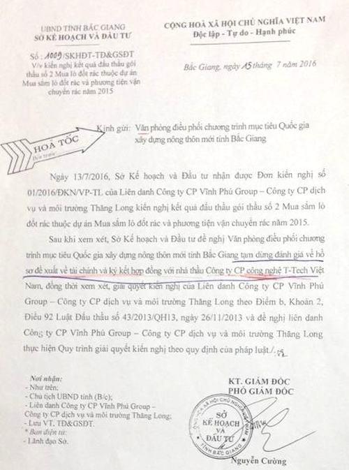 Ông Nguyễn Văn Doanh cho rằng Sở Kế hoạch đầu tư tỉnh Bắc Giang không có thẩm quyền ban hành các công văn yêu cầu tạm dừng liên quan Công ty CP T-Tech Việt Nam.