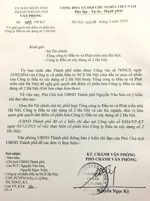 Lần thứ 2 UBND TP Hà Nội ra công văn yêu cầu đích danh Sở Tài chính chủ trì xử lý dứt điểm vụ cổ phần hoá tại HACINCO.