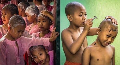 Nghi thức cạo tóc cho các sư tiểu tại một ngôi chùa ở Myanmar. Ảnh: Peter Brisley
