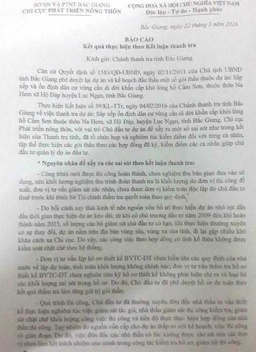 Bắc Giang: Khắc phục sai phạm tại dự án di dân khỏi lòng hồ Cấm Sơn - 1