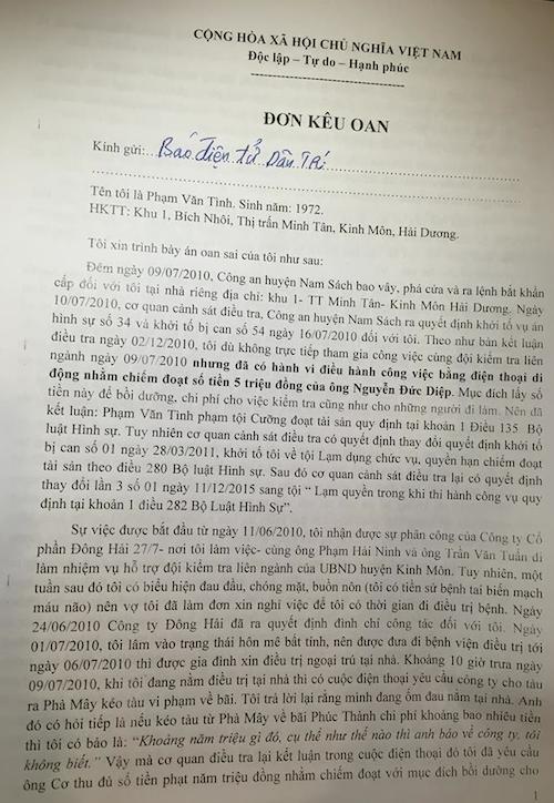 Đơn kêu oan ông Phạm Văn Tình gửi báo Dân trí.