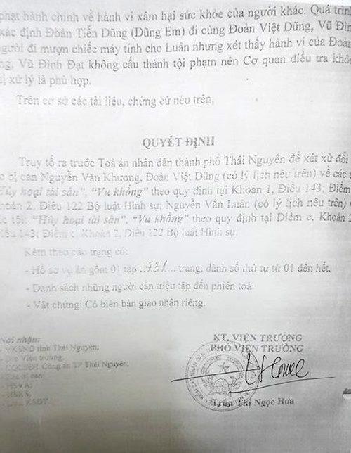 Bản cáo trạng của VKSND TP Thái Nguyên quy kết các bị cáo phạm tội Vu khống và Huỷ hoại tài sản.