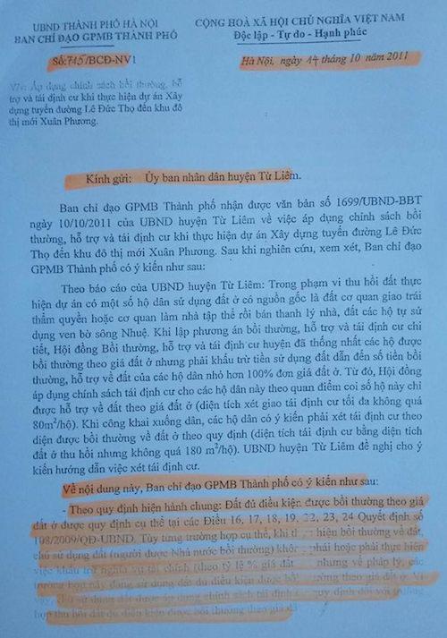 """Hà Nội: Công dân khiếu nại chế bộ bồi thường GPMB """"tiền hậu bất nhất"""" - 2"""