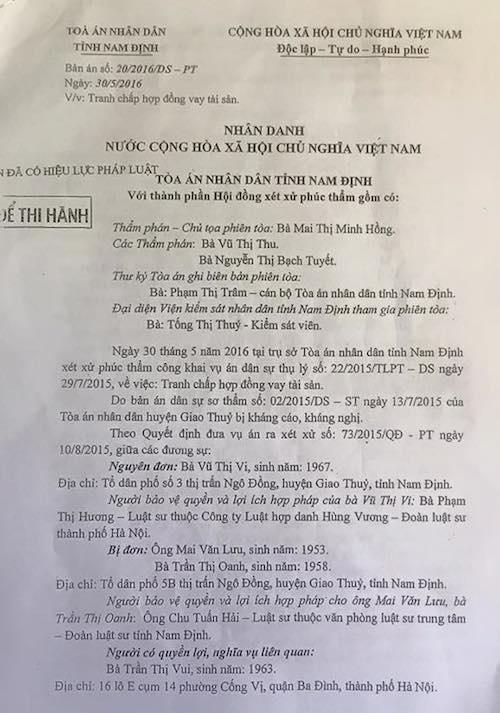 Nam Định: Hai cấp toà tuyên án, bị đơn khẩn thiết xin xem xét kháng nghị giám đốc thẩm - 3