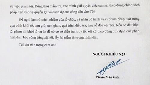 Đơn khiếu nại chính thức gửi VKSND huyện Nam Sách của anh Phạm Văn Tình.