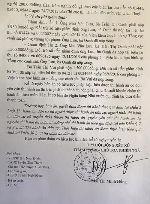 Bản án phúc thẩm của TAND tỉnh Nam Định khiến bị đơn phản ứng đề nghị kháng nghị giám đốc thẩm.