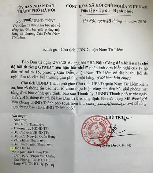 Chủ tịch TP Hà Nội chỉ đạo xử lý khiếu nại của người dân quận Nam Từ Liêm.