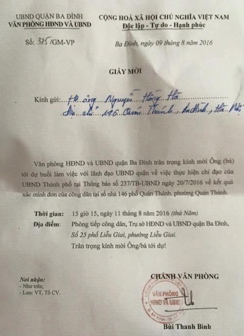 UBND quận Ba Đình mời người dân 146 Quán Thánh làm việc sau kết luận của TP Hà Nội