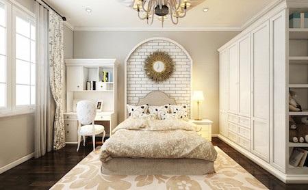 Phòng ngủ con cũng được thiết kế với tông màu trắng nhưng được trang trí thêm nhiều chi tiết trẻ trung.