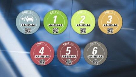 Hệ thống tem màu dán trên kính xe để xác định tuổi xe