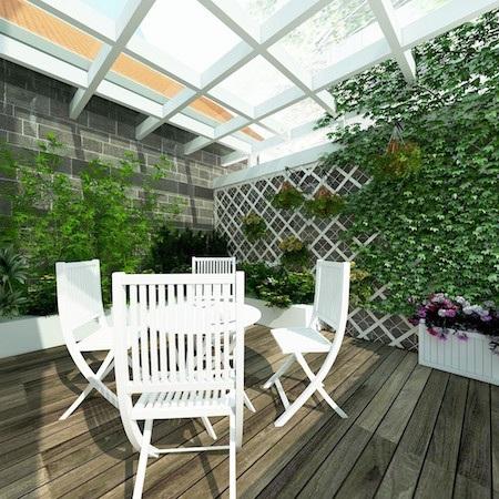 Sân vườn tiểu cảnh được thiết kế trên tầng 3 rộng tới 15m2 để đưa không gian xanh trở về với nơi phố đông của thủ đô.