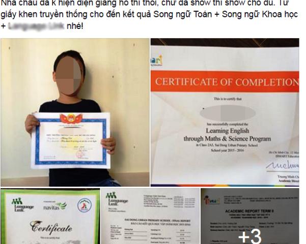Trên Facbook của các ông bố bà mẹ mùa kết thúc năm học đang rợp giấy khen, thành tích của con.
