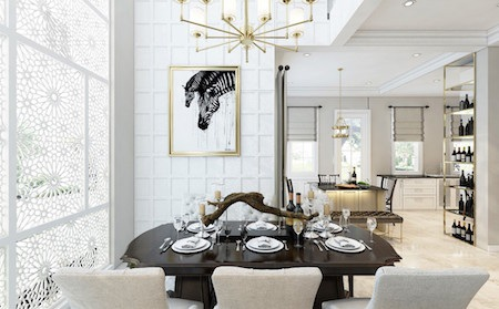 Phòng ăn được thiết kế rộng 16m2 gồm có 2 bàn ăn độc lập: 1 bàn ăn 6 người đặt bên cửa sổ nhìn ra sân vườn.