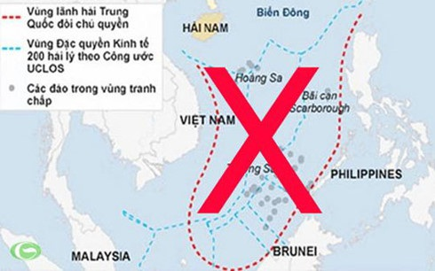 Yêu sách đường lưỡi bò phi lý của Trung Quốc chiếm gần trọn diện tích Biển Đông.