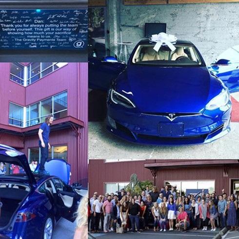 Chiếc xe hơi đời mới của hãng Tesla mà nhân viên công ty Gravity Payments tặng sếp