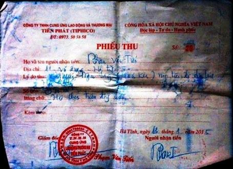 Phiếu thu tiền Công ty Tiến Phát giao cho bà Hoa