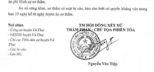 Bản án của TAND huyện Vũ Thư tuyên bị cáo Bùi Quang Tú 6 tháng tù treo bị kháng cáo kêu oan.