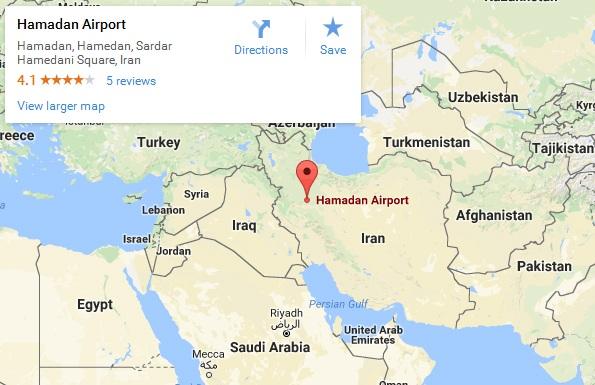 Bản đồ cho thấy vị trí căn cứ không quân Hamadan tại Iran (Ảnh: Google)