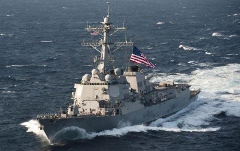 Tàu khu trục mang tên lửa dẫn đường USS Lassen được Mỹ điều đến tham gia tuần tra ở Biển Đông. Ảnh Hải quân Mỹ