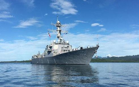 Tàu khu trục mang tên lửa dẫn đường USS William P. Lawrence. (Ảnh: Hải quân Mỹ)