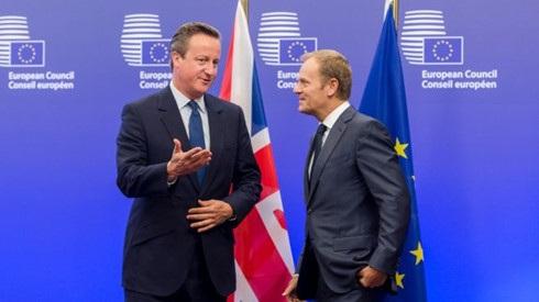 Thủ tướng Anh David Cameron và Chủ tịch EU Donald Tusk đang bận rộn với những cuộc tranh luận về tương lai của Anh tại EU. (Ảnh: Sky).