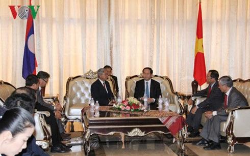 Chủ tịch nước tiếp Tổng Thư ký Hội hữu nghị Lào-Việt Nam Saykhong Sayasin
