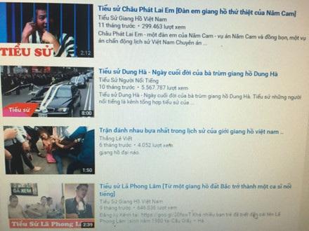 Các kênh YouTube phổ biến thành tích đại ca giang hồ.