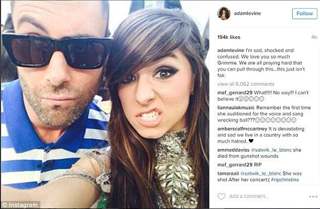 Adam Levine, thầy cũ của Christina Grimmie tại chương trình The Voice Mỹ, tiếc thương người học trò cũ.