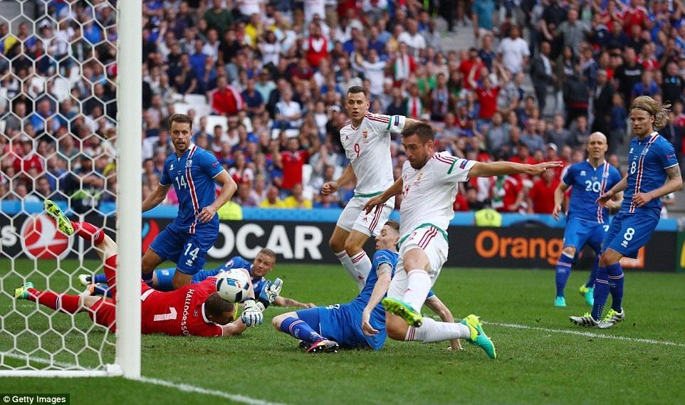 Hungary (trắng) chỉ cần hòa là giành vé đi tiếp ở Euro 2016