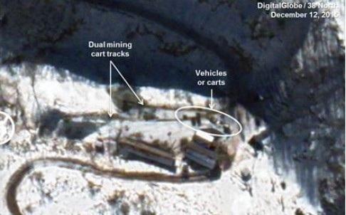 Ảnh vệ tinh cho thấy các hoạt động đáng ngờ tại bãi thử Punggye-ri hồi tháng trước (Ảnh: 38 North)