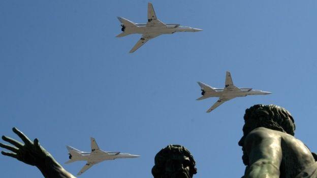 Màn trình diễn của các máy bay ném bom chiến lược Tupolev Tu-22M3 Backfire. (Ảnh: AFP)