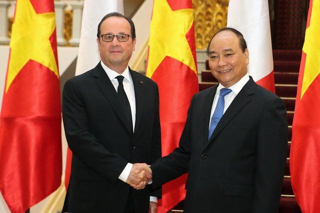Tổng thống Pháp Francois Hollande cũng đã có cuộc hội kiến với Thủ tướng Nguyễn Xuân Phúc sáng ngày 6/9. (Ảnh: Reuters)