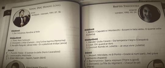"""Ninh Đức Hoàng Long được giới thiệu trong quyển kỷ yếu các thí sinh dự thi cuộc thi Opera quốc tế uy tín mang tên """"IX. Simandy Jozsef international singing competition"""" tổ chức tại Szeged, Hungary"""