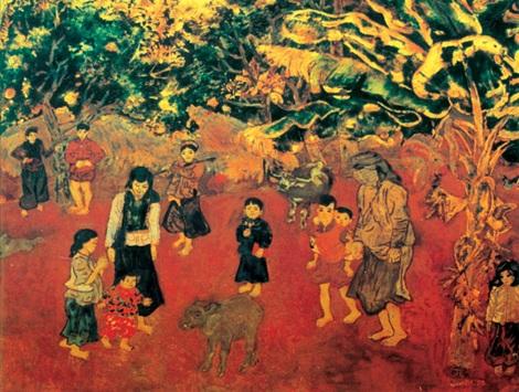 Một bức tranh của danh họa Nguyễn Tư Nghiêm. (Theo Công An Nhân Dân)