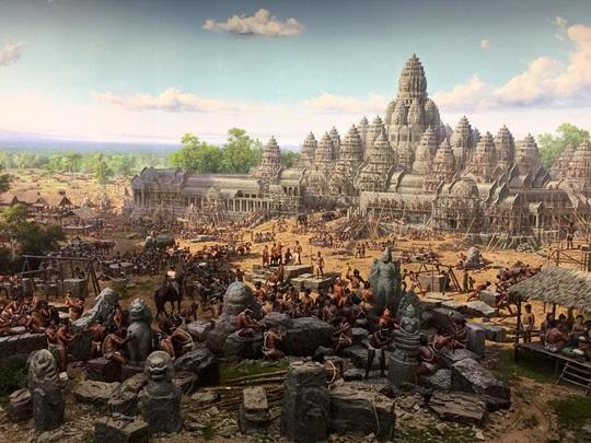 Một trong những bức tranh 3D tại bảo tàng Angkor Panorama. Ảnh: Cambodia Heritage