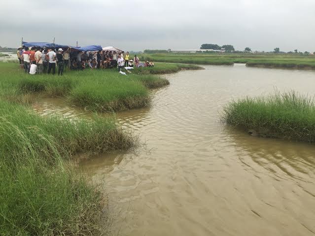 Khu đầm nơi xảy ra vụ đuối nước thương tâm.