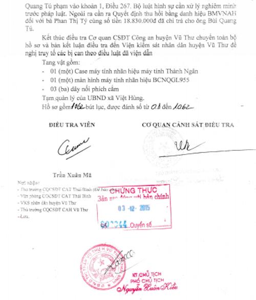 """Kết luận điều tra quy kết thương binh Bùi Quang Tú phạm tội """"Làm giả giấy tờ tài liệu của cơ quan, tổ chức""""."""
