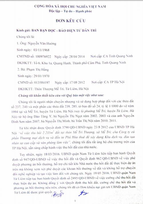 Hà Nội: Bị thu hồi đất giao cho doanh nghiệp, người dân khiếu nại yêu cầu làm rõ uẩn khúc - 1