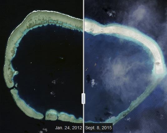 Ảnh vệ tinh cho thấy Trung Quốc đã ồ ạt bồi đắp trái phép một bãi đá ngầm ở Trường Sa (Ảnh: Reuters)