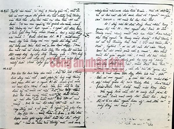 Bìa và 4 trang bản thảo nhật ký Đặng Thùy Trâm
