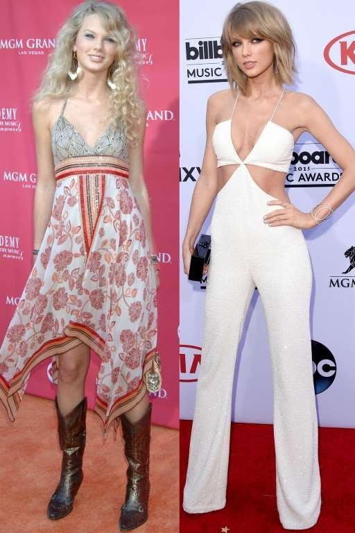 Taylor Swift cũng có sự lột xác thành công không chỉ trong âm nhạc mà cả thời trang trong vài năm trở lại đây. Dáng vóc siêu mẫu giúp cô dễ dàng mặc những chiếc áo crop top trẻ trung khoe eo thon.