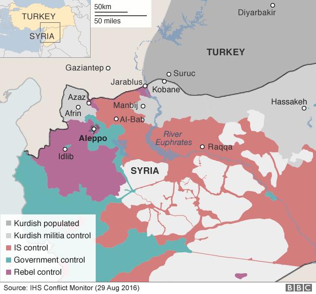 Bản đồ cho thấy sự kiểm soát của các bên tại miền bắc Syria (Đồ họa: BBC)