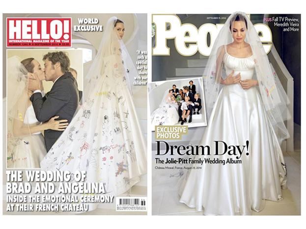 Nữ minh tinh đình đám mặc váy cưới lần 3 vào tháng 8/2014. Hôn lễ bí mật của cô và Brad được tổ chức tại Pháp với sự chứng kiến của 6 đứa con